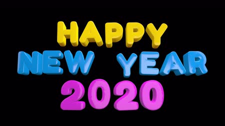 kalendarz : 2020 New Year motion graphics video footage, Text title animation render with colorful, 3D CGI Compositing process, 4k Ultra HD 3840x2160, RGB with Alpha matte. Wideo