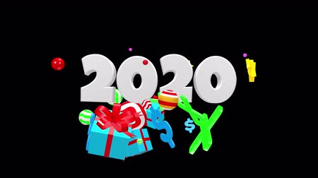 neve : 2020 New Year motion graphics video footage, Text title animation render with colorful, 3D CGI Compositing process, 4k Ultra HD 3840x2160, RGB with Alpha matte. Stock Footage