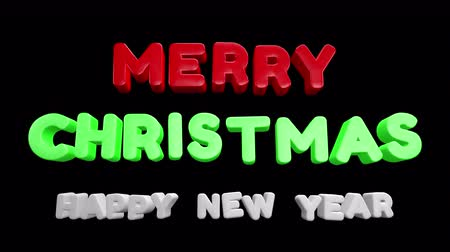 neve : Merry Christmas and Happy New Year 2020 motion graphics video footage, Text title animation render with colorful, 3D CGI Compositing process, 4k Ultra HD 3840x2160, RGB with Alpha matte.