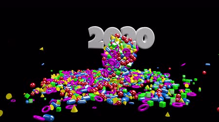 kalendarz : 2020 New Year motion graphics video footage, Text title animation render with geometric colorful, 3D CGI Compositing process, 4k Ultra HD 3840x2160, RGB with Alpha matte.