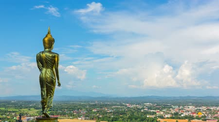 divino : Big buddha statue on mountain Nan, Thailand Stock Footage
