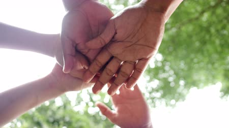 person's hand : A close-up in slow motion, of hands together. Stock Footage