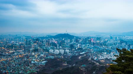 gyeongbokgung : Time lapse of Cityscape in Seoul and Seoul tower at night, South Korea.