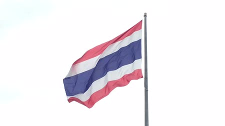 flag half mast : The Thai flag fly away. Stock Footage