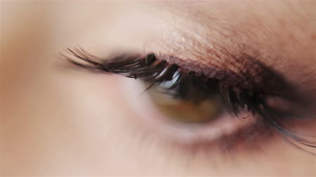 olhos verdes : Close-up of blinking eye looking into camera Stock Footage