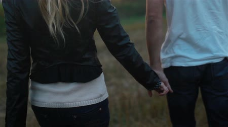 Young couple in love holding hands walking in field at sunset. Slow motion