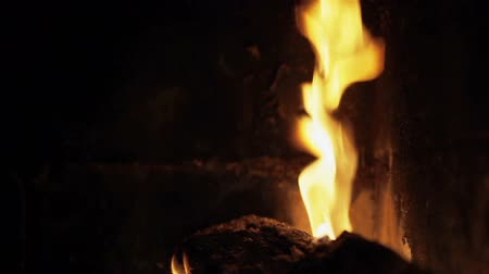 ardente : Fire in fireplace. Close-up