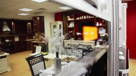 kitchen furniture : Reflection of the room interior in a furniture store