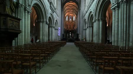 honfleur : Flycam of inside view of an ancient church. France, Honfleur