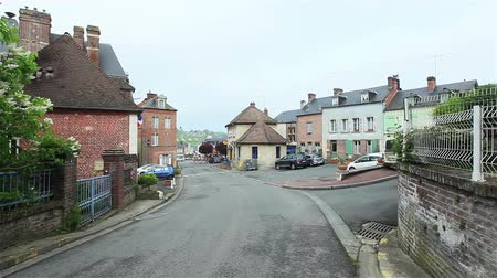 vila : Street of a small European town. France. Flycam Vídeos