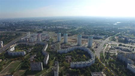 europe population : Aerial view over city suburbs 4k. Minsk, Belarus