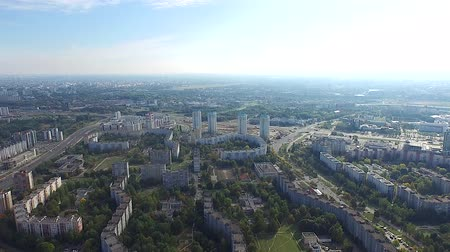 local population : Aerial view of the city. Minsk, Belarus. 4k
