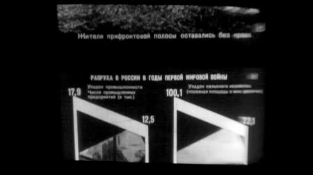 tiras : Old black and white educational 8mm film strip about World War I slipping through an open projector gate. Film textures and effects
