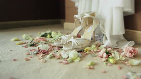high heeled sandals : Beautiful luxury pair of high heels white bridal shoes lace sandals standing on carpet with rose flowers petals around waiting for bride on her wedding day. Close-up. Dolly
