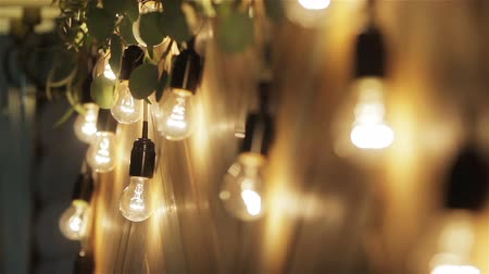 getting electricity : Light bulbs garland close up. Electric bulb shine hanging on wall as decoration for holiday close up rack focus macro Stock Footage