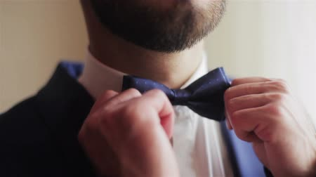 Male hands adjusting blue bowtie closeup. Well-dressed young man touching puts and adjusts touching funky dots bow tie on white shirt. Dressing man straightens bow-tie shallow depth of field