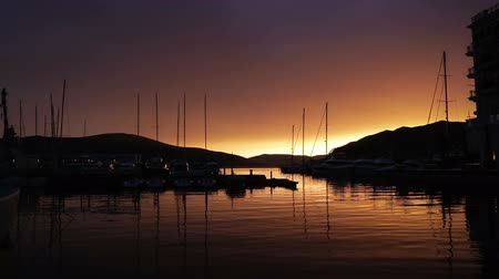 yelow : Sunset of the yacht yelow color Stock Footage