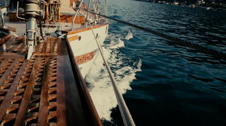 sailing boat : Inside the yacht in motion slow motion