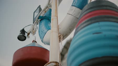 lifebuoy : Close up of white life buoy and fishermans buoy Marine theme