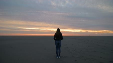 растягивается : The girl stands on the beach at sunset. Timelapse