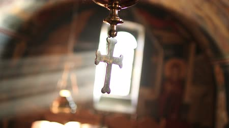 crucifix : The Holy Cross in the Christian church Stock Footage