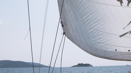 yat yarışı : The wind blows into the sails of the yacht which goes through the water against the backdrop of a beautiful blue sky Stok Video