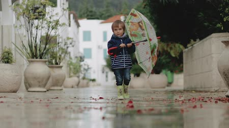 mókás : A little boy in rubber boots walks through puddles with an umbrella during the rain Stock mozgókép