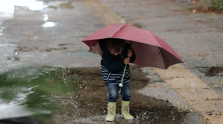 folha : A boy stands with an umbrella and rubber boots in a puddle in the rain.