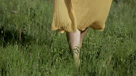 Womens legs close-up girl walks on grass blowing wind
