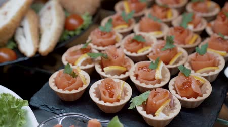 celebration : Appetizing baskets of snack red fish Wideo