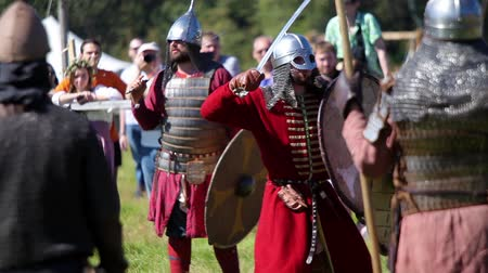 knightly : Participants On International Historical Festival Of Medieval Culture Stock Footage