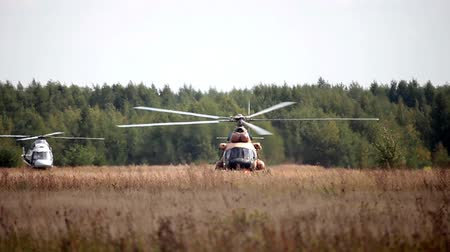 copter : Military helicopter standing in the field, ready for flight