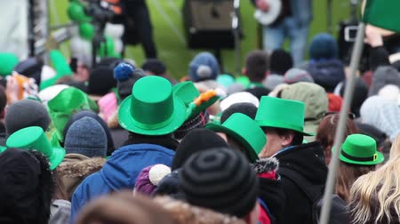 günler : Celebration of irish St. Patricks Day in Moscow, Russia. Stok Video
