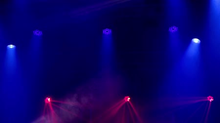 music band stage : Rock concert and disco party stage lights Stock Footage