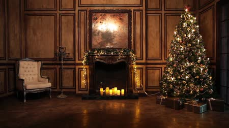 pré natal : New Year Tree decorated room interior in classic style