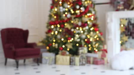 christmas tree with lights : Classic white christmas interior background