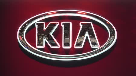 Moscow, Russia - August, 2018: Kia motors logo sign on Moscow International Automobile Salon 2018 in Russia Wideo