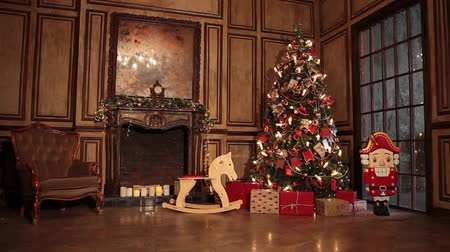 fireplace : New year tree decoration Stock Footage