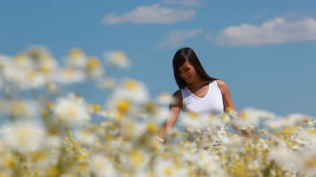 dokunaklı : Young girl walking on the meadow and touching flowers Stok Video