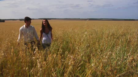 genç çift : Happy couple walking along wheat field Stok Video