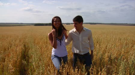 genç çift : Smiling couple in field Stok Video