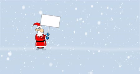 billboards : Crazy Santa Claus running and holding billboard