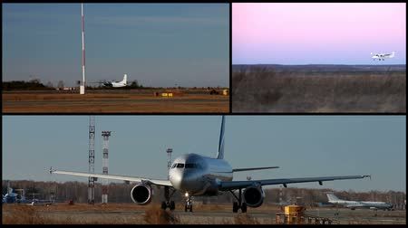 pist : Video collage of airplanes fly and arrival Stok Video