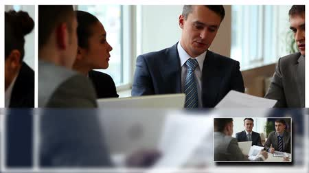 corporate : Business group planning work in office Stock Footage
