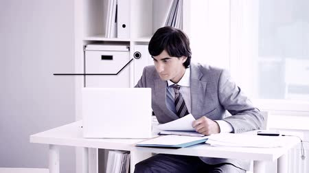 papelada : A young business man working in office. You can add your texts