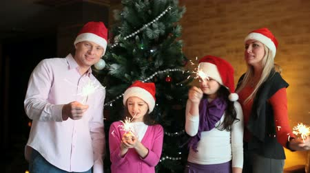 Новый год : Cheerful family with sparklers celebrating Christmas and New Year Стоковые видеозаписи