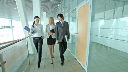 korejština : Cheerful business people walking together along the office corridor and holding a conversation, dolly shot