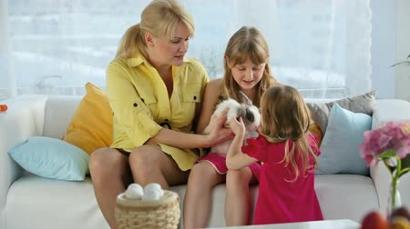 animais e animais de estimação : Family of three holding and caressing a cute bunny, Easter series Stock Footage