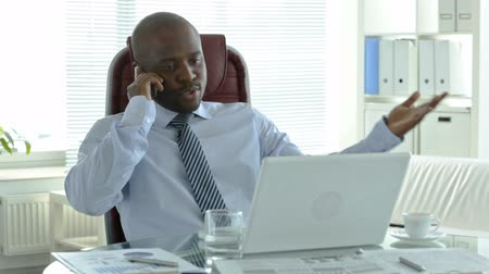 temsilci : African businessman talking on the phone in his office