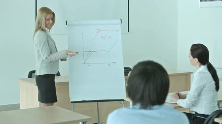 kobieta biznes : Pretty blonde presenting graphs and charts in terms of a business seminar Wideo